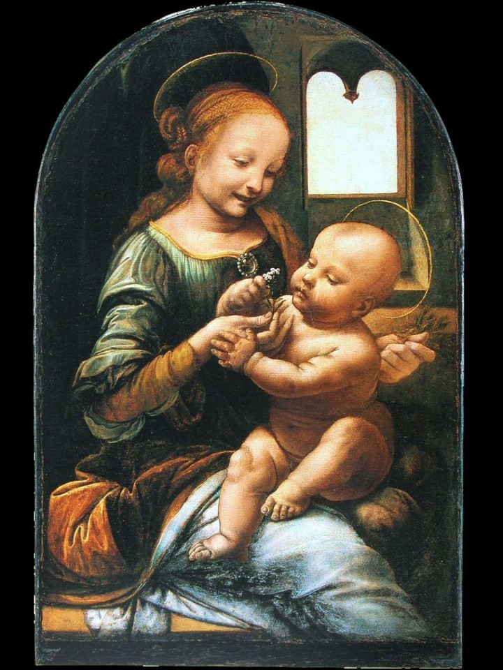 leonardo_1475-78madonnabenois (1) o madonna col bambino e fiori